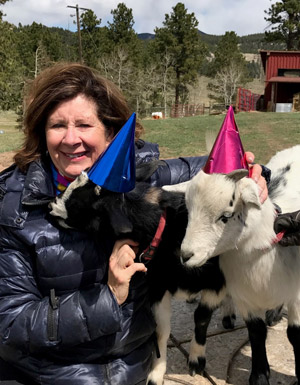 Gail and birthday goats 2017