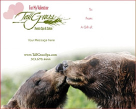With a Valentine's Day gift certificate from TallGrass, you and your Valentine can enjoy everything our famous spa has to offer-for a truly romantic getaway.