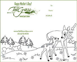 Give the gift of relaxation and rejuvenation to your Mom with a Mother's Day gift certificate from TallGrass Spa in Evergreen CO.