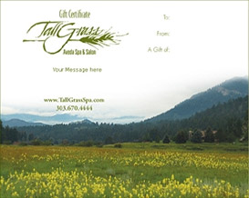 TallGrass instantly printable gift certificates are great gifts for any occasion.