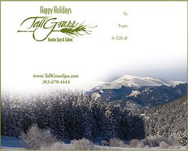Say Happy Holidays with a gift certificate from TallGrass Aveda Spa and Salon.
